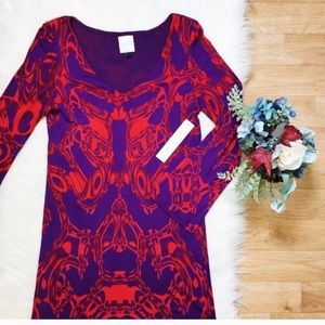 NWT Nicole Miller Purple Red Long Sleeve Dress 217